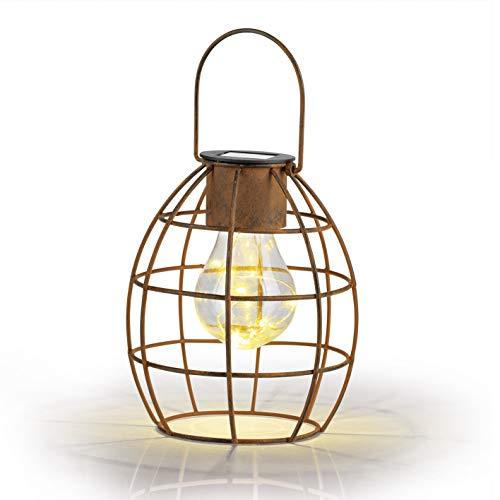 EASYmaxx 02660 Retro Solar-Leuchte | Tageslichtsensor für automatisches EIN- und Ausschalten | Zum Hängen Oder Stellen, Indoor und Outdoor, Spritzwassergeschützt nach IP 44 | Rost-Farben