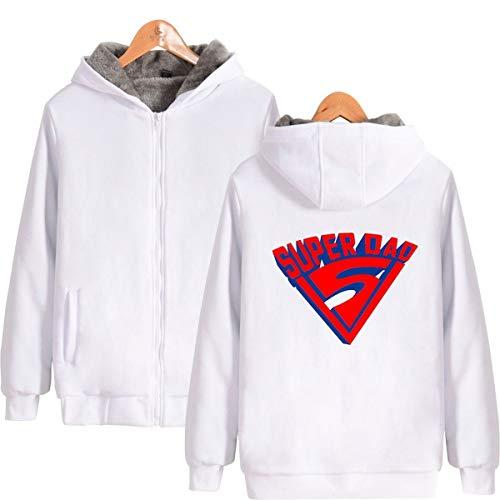 Mempire Mens Coat Super Dad Theme Unisex Thicken Hoodie Zip Hooded Sweatshirt Sportswear (White 3,3XL)