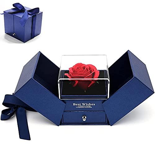 Rosa Eterna, Caja de Regalo Tipo Cajón de Joyería con Doble Apertura de Rosas Eternas para Novia, Esposa, Mujer, Aniversario, Día de la Madre Regalos Románticos