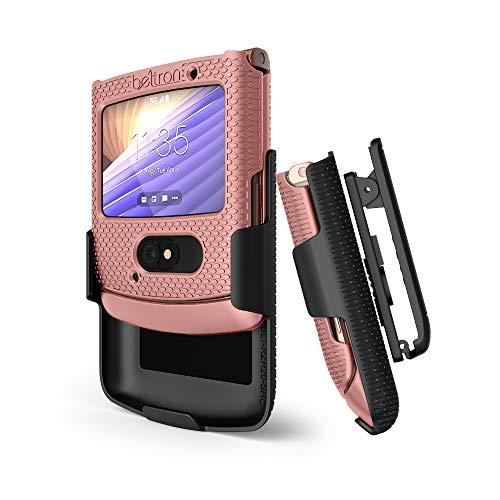 BELTRON Schutzhülle mit Clip für Motorola RAZR 5G (ATundT / T-Mobile), aufsteckbar, mit drehbarem Gürtelholster & eingebautem Ständer, für Motorola Moto RAZR 5G Flip Phone (2020) XT2071, Rosa