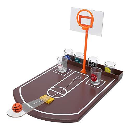 Atyhao MDF Innovative Tischbasketball Mini Bier Trinkspiel Spielzeug für unterhaltsame Party mit 6PCS Glass Party Games Aktivitäten