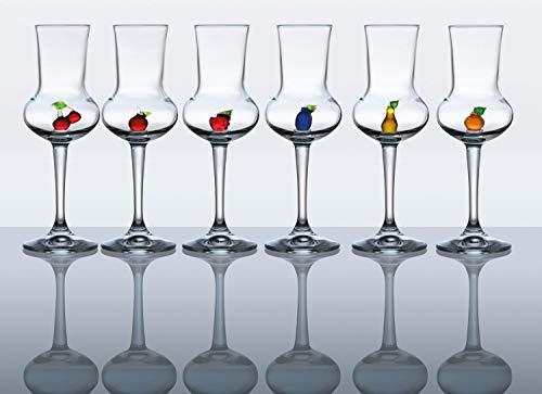 Grappa Riserva - Set di 6 bicchieri da liquore, in vetro soffiato a bocca, 16 cm