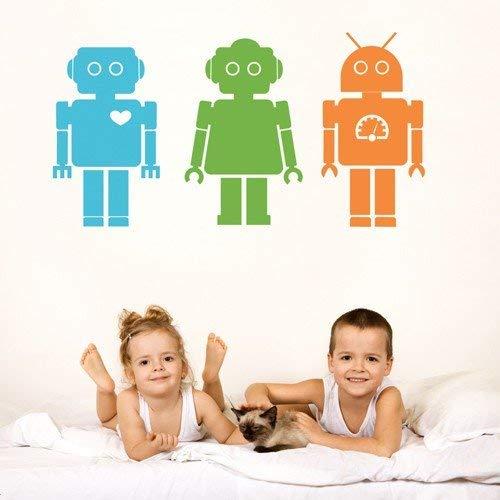 nkfrjz Arte decoración del hogar Color Encantador Rrobot Etiqueta de la Pared Nusery Dormitorio de los niños Que Viven Jugar decoración Roon niño niña diseño 57X107 cm
