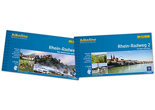 Bikeline Radtourenbuch Rhein-Radweg (Band 1+2) von Andermatt über Basel nach Mainz im Geschenkset