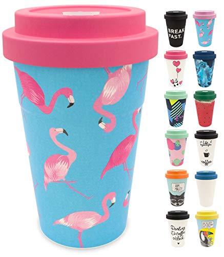 holi. Coffee-to-Go Bambus-Becher mit Schraubdeckel | nachhaltiger Kaffeebecher mit Verschluss | Mehrweg-Becher Bamboo-Cup | Woodcup, lebensmittelecht, spülmaschinenfest (Flamingo Overload)