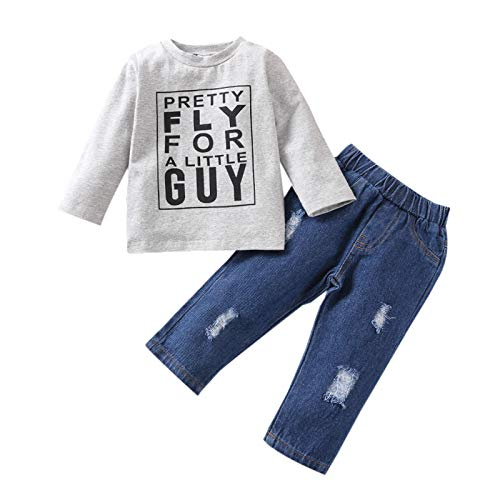 Pretty Fly for A Little Guy Baby Clothes Set, Toddler Kids Boys Girls Letter Print Tops+Ripped Jeans Outfits Set 1-5T Gray