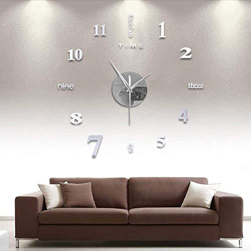 MOMOJIJI Reloj de Pared 3D DIY Moda Reloj de Etiqueta de Pared Decoración,Reloj de Pared Adhesivos 100 cm,Reloj de Pared Digital,Sin Marco,Tamaño Grande,Deal para Bar, Club, Oficina o Salón (Plata)