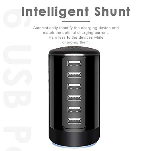 6 Ports Desktop Charging Station,USB Hub Fsat Wall Charger,Compatible with Cell Phones, Smart Phones, Tablets, and Other Electronics (All Black)