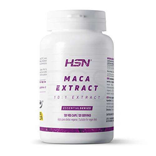Maca Andina de HSN | 500mg | Extracto 10:1 Alta Concentración | Energizante Natural | Apto Vegano, Sin Gluten, Sin Lactosa | 120 Cápsulas Vegetales