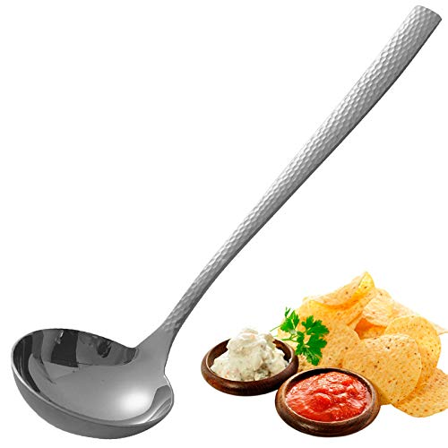 Soup Ladle Stainless Steel, Gravy Ladle, Small Round Sauce Ladle, Gravy Spoon with Long Handles, Best Kitchen Accessories for Stirring, Portioning and Serving Soups in Restaurants and at Home