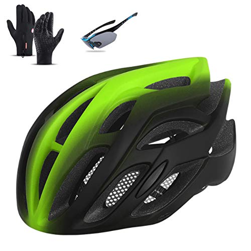 Bike Helmet, Ultralight Road Mountain Cycling Helmets with Goggles And Gloves Adjustable Size Bicycle Helmets for Adults Men/Women Size 22-24 In,Green