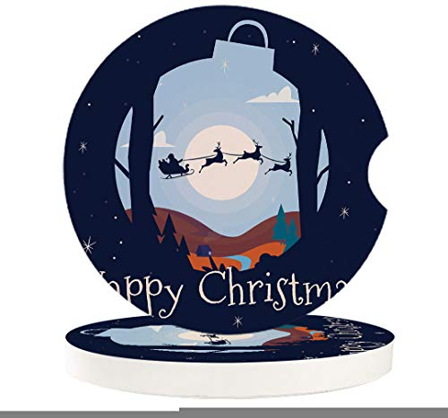 Ceramic Coasters Xmas Theme Ceramic Car Accessories Car Coasters for Women with Fingertip Grip for Easy Removal Set of 2 Santa Claus Sleigh and Fly at Christmas Night