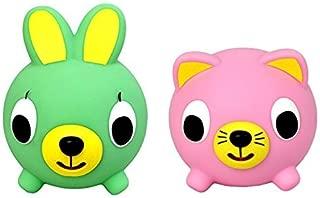 Oshaberi Doubutsu Talking Animal Ball Borukuma Stress Ball - Pink Cat and Green Bunny - Set of 2