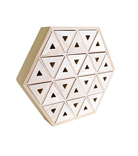 Artemio 14002000 Calendrier de l'Avent en Bois à décorer Hexagone-36cm x 31.3cm x 6.4cm, 36 x 6,4 x 31,3 cm