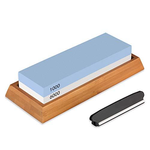 Schleifstein Xpassion Wetzstein 2-in-1 Abziehstein Schleifstein-Set Körnung 6000/1000 Wasser Messerschärfer Schleifen Wasserschleifstein mit rutschfestem Silikonhalter für Küche Messer