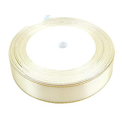 Cinta de satén de alta calidad para envolver regalos, color beige, 40 mm