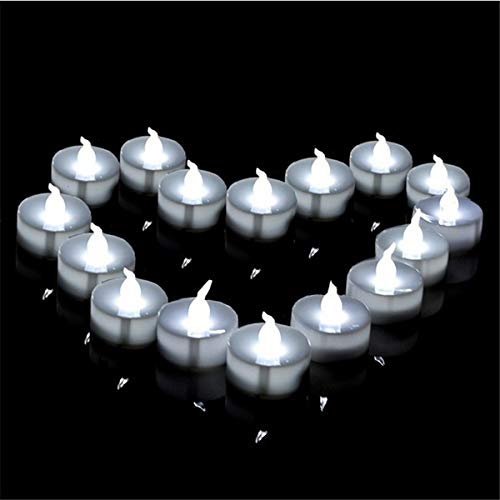 KASILU Free Combination Flickering Tealights 12 Pieces Mini Gold Led Candle Glow Blink led with Battery Romantic (Color : Cool White Flicker)