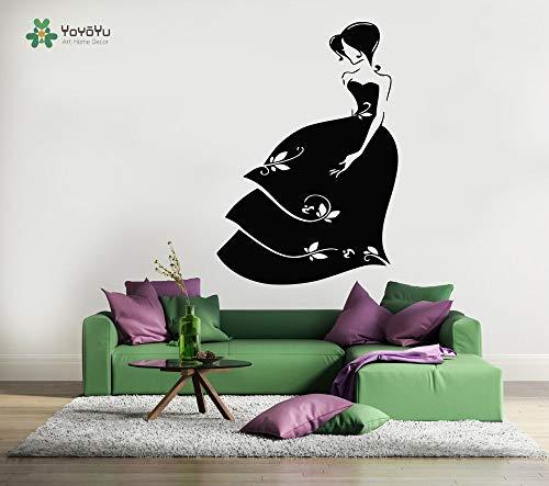 hetingyue Vinyl muur applicatie meisjes bruiloft jurk winkel moderne kunst glazen sticker