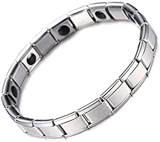 Germanium Bracelets For Women Men Silver Color Stainless Steel Tourmaline Health Energy Balance Elastic Chain Link Bracelets