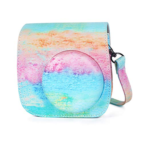 Phetium Protective Case Compatible with Instax Mini 9 Mini 8 Mini 8+, Soft PU Leather Bag with Pocket and Removable Shoulder Strap (Rainbow Pink)