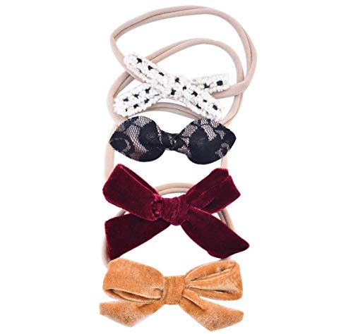 Price comparison product image California Tot Baby Girls Mixed Bows in Soft & Stretchy Nylon Headbands for Newborn,  Toddler Girls Set of 4 (Dreamy Set)