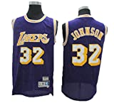 NBA Lakers 32 Magician Johnson Vintage all-Star Jersey, Tessuto Fresco E Traspirante,T-Shirt da Uomo in Jersey da Basket in Jersey da Donna,S:170cm/50~65kg