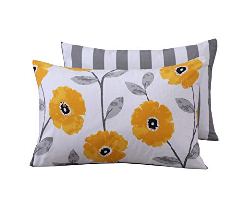 Divine Textiles Printed Pillow Cases reversible Pattern Ultra Soft Easy Care, Pillow Cases (50x75cm) - Mustard Flower