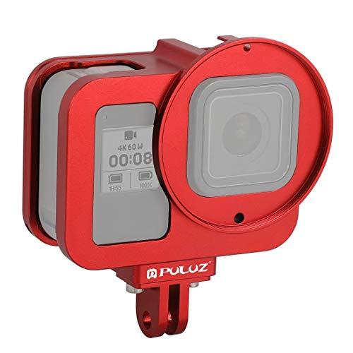 Actie camera kooi Voor GoPro HERO8 Zwart Behuizing Shell CNC Aluminium Beschermende Kooi Met Verzekering Frame & 52mm UV Lens (Zwart) Actie camera bescherming, Rood