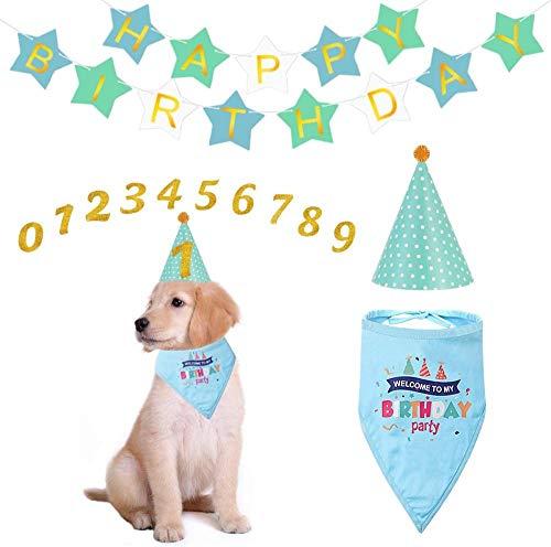 WAQJnii Perro Turbante Perro Fiesta de cumpleaños Suministros-Creativo Perro cumpleaños Turbante y Sombrero Feliz cumpleaños Banner para Perro Gato Fiesta de cumpleaños