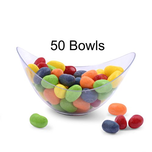 Zappy 50 Mini Bowls 2 oz Clear Plastic Party Bowls Oval Small Bowl Elegant & Disposable Small Dessert Bowls Candy Dishes Trifle Bowls Appetizer Bowls Mousse Cups Dessert Cups Souffle Condiment Cups