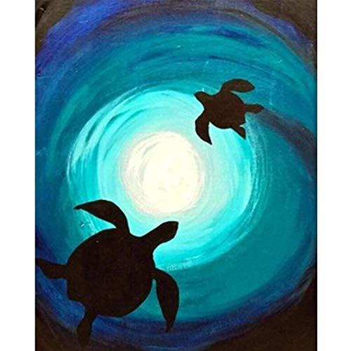 LIUDALA Schildkröten im Whirlpool-DIY Öl Malen nach Zahlen Kits Erwachsene Kinder Malen Nach Zahlen Kits anfänger DIY Vorgedruckt Leinwand-Ölgemälde Wandkunst Dekorationen 30×40cm (Ohne Rahmen)