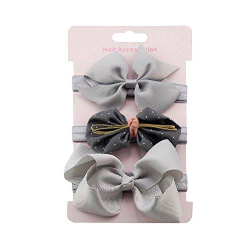 erthome Stirnband, Baby Mädchen Bowknot Haarband Set 3Pcs Kinder elastisches Blumen Stirnband Haarband (Grau)