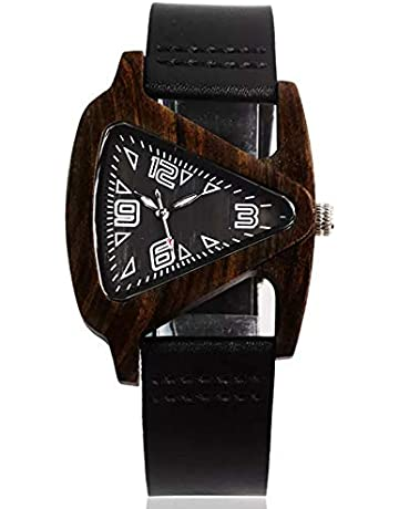 2db9176e4b Sweetbless出品 腕時計 木製 クォーツ 男女兼用 三角形 腕時計 彫り ウッド ウォッチ 天然木珍しい時計