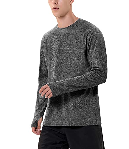 Zengjo Long Sleeve Running Shirt Men(XL,Marled Charcoal)