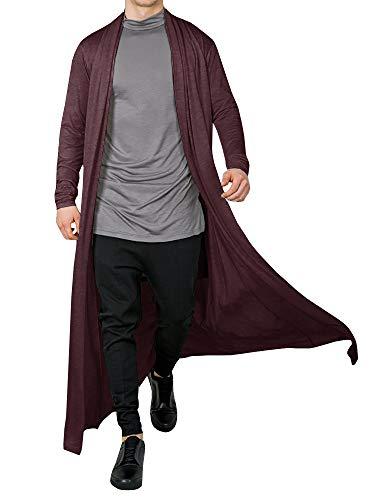 Men's Ruffle Shawl Collar Cardigan Open Front Outwear Long Cape Poncho Trench Coat (Wine Red, Medium)