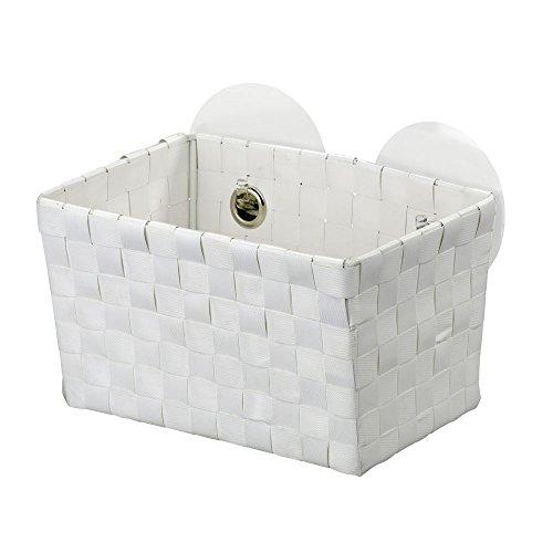 WENKO Static-Loc® Aufbewahrungskorb Fermo White - Badkorb, Befestigen ohne bohren, Polypropylen, 20.5 x 14.5 x 14 cm, Weiß