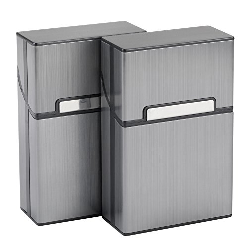 2pcs Zigarettenbox, Metallzigarettenbox mit Magnetverschluss, Zigarettenetui aus Aluminiumlegierung für Zigarettenschachtel, edeler Zigarettenkasten für 20 Zigaretten (Grau)