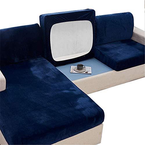 H-CAR Funda para asiento de casa, funda para silla/sofá de dos plazas, alta elasticidad, cojín de terciopelo para sofá (grande, 2 plazas, azul oscuro)