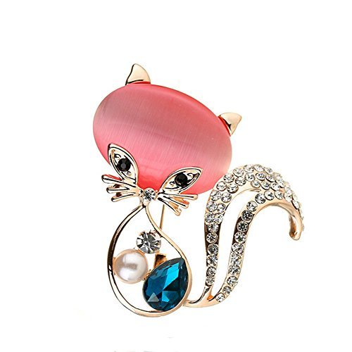 HSQYJ Pretty Animal Brooches Rose Gold and Platinum Plated Full Shining Crystal Brooch Pink Cat's Eye Brooch Pins (Rose Gold cat Brooch)