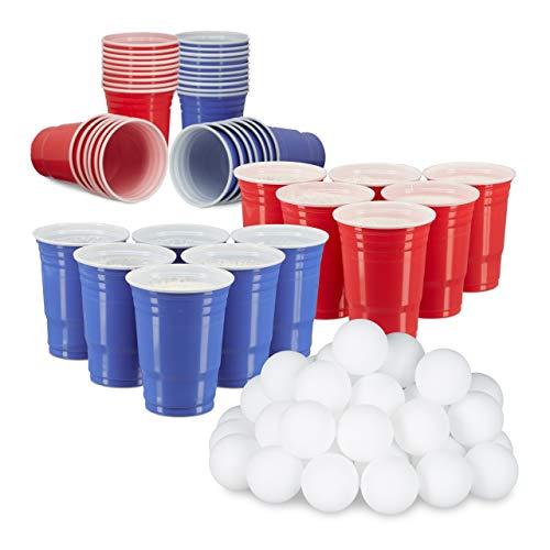 Relaxdays 148 TLG. Beer Pong Set, 50 rote Trinkbecher, 50 Blaue Becher, 48 Beer Pong Bälle, Plastik, Trinkspiel, rot/blau/weiß