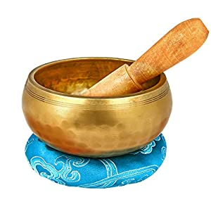 Reehut 4.2'' Tibetan Meditation Yoga Singing Bowl Set, Hand Hammered Singing Bowl With Mallet & Silk Cushion, For Meditation, Chakra Healing, Prayer, Yoga and Mindfulness