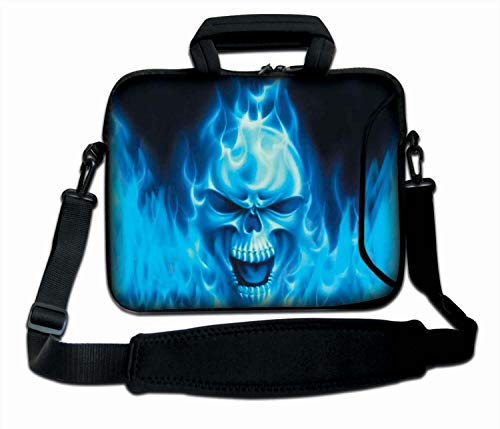 Luxburg 12' Inches Crossbody Bag Carrying Case Soft Laptop Sleeve with Handle - Blue Skull