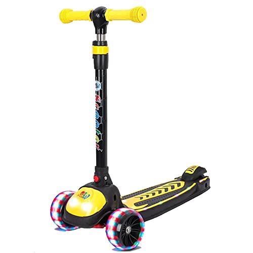 Patinete plegable portátil de 3 ruedas, con mango de altura ajustable y ruedas de poliuretano parpadeantes, para niños de 3 años o más, color azul