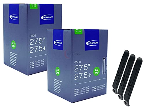 pneugo! Schwalbe - Cámara de aire para bicicleta (2 unidades, 27,5', válvula automática 54-584/75-584 AV21F Freeride) y 3 desmontadores de neumáticos