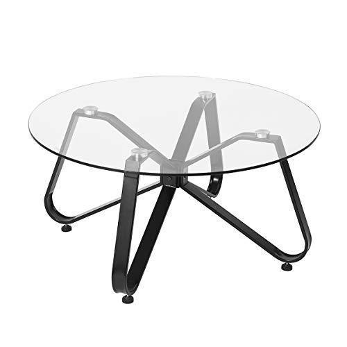 Mesa de centro moderna, 80 cm redonda de vidrio templado con almohadillas antideslizantes marco de metal mesa auxiliar estable para sala de estar