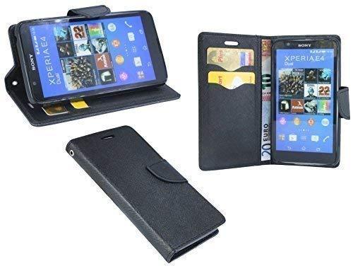 ENERGMiX Buchtasche kompatibel mit Sony Xperia E4 Hülle Case Tasche Wallet BookStyle in Schwarz