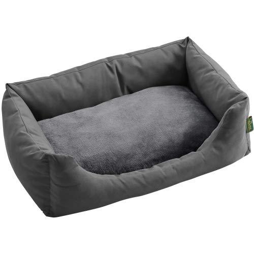 HUNTER RAVINA Hundesofa mit kuscheligem Wendekissen Farbe grau, Größe L