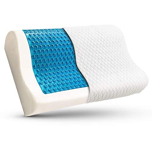Bamibi® Almohada Cervical Ortopédica Terapéutica Viscoelástica con Gel Disipador de Calor, Cojín Ortopédico con Espuma de Memoria Alta Densidad. Incluye Funda Algodón 100% Extraible y Lavable.
