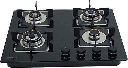 Hafele MAGNA 60-4 Supernova Powerful Built-in Brass Gas Hob, Stove with Auto Ignition Glass Top, 2 Triple, 1 Dual and 1 Auxiliary Burner with Flame Failure Safety Device - 60 cm