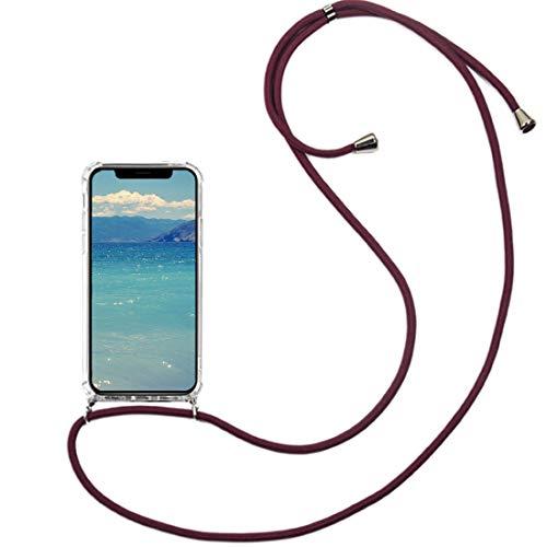 2Buyshop telefoonketting compatibel met iPhone 11 Pro Max beschermhoes mobiele telefoon band halsband halsketting hoes transparant schokbestendig telefoonhoes met omhangband voor iPhone 11 Pro Max